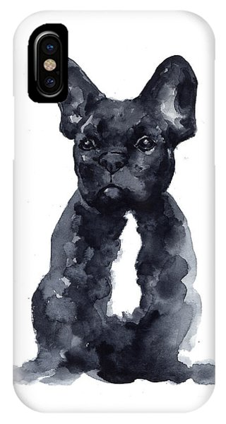 Bull iPhone Case - Black French Bulldog Watercolor Poster by Joanna Szmerdt