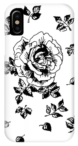 Close Up Floral iPhone Case - Black Graphic Rose by Masha Batkova