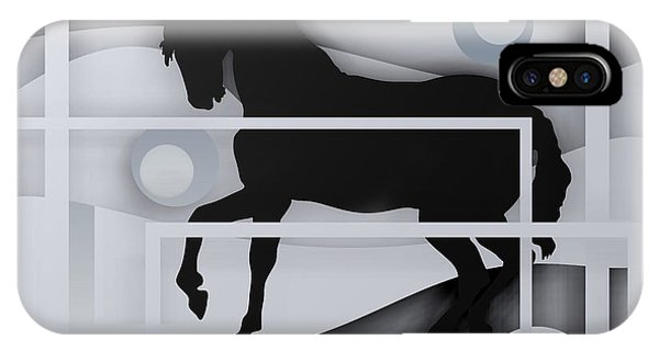 Black Horse White. IPhone Case