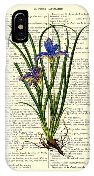 Floral iPhone X Case - Black Iris Antique Illustration On Dictionary Page by Madame Memento
