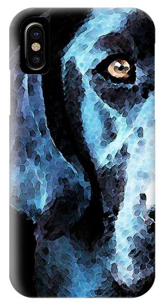 Retriever iPhone Case - Black Labrador Retriever Dog Art - Hunter by Sharon Cummings