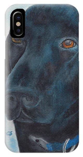 Black Labrador With Copper Eyes Portrait II IPhone Case