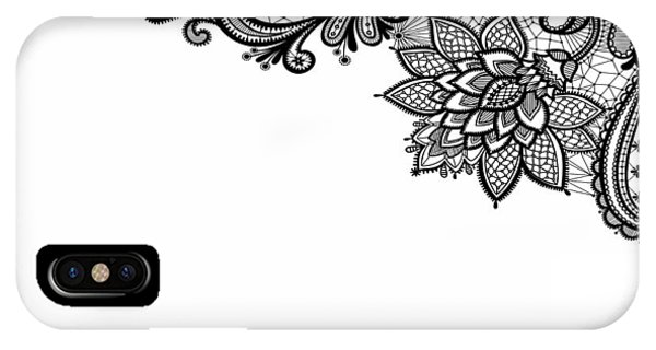 IPhone Case featuring the digital art Black Lace Print On White by Marianna Mills