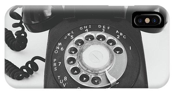 Office iPhone Case - Black Landline Phone- Art By Linda Woods by Linda Woods