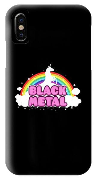 Unicorn iPhone Case - Black Metal Funny Unicorn / Rainbow Mosh Parody Design by Philipp Rietz