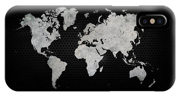 Steel iPhone Case - Black Metal Industrial World Map by Douglas Pittman