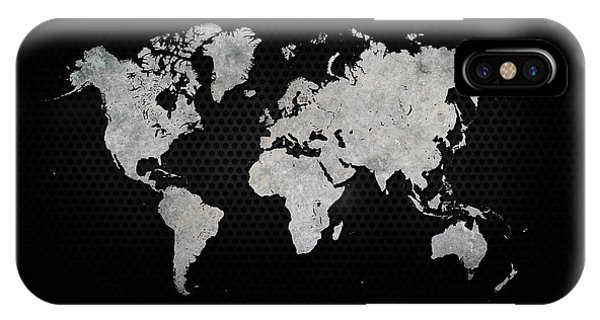 Industrial iPhone Case - Black Metal Industrial World Map by Douglas Pittman