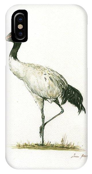 Crane iPhone Case - Black Necked Crane by Juan Bosco