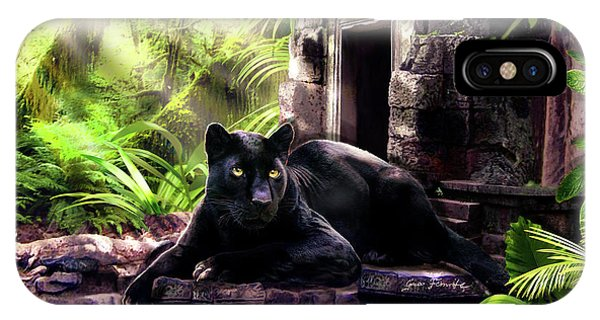 Wild Life iPhone Case - Black Panther Custodian Of Ancient Temple Ruins  by Regina Femrite