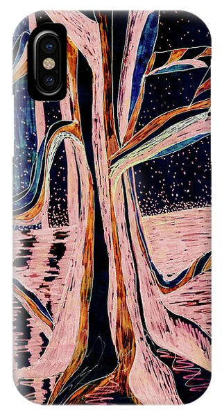 Black-peach Moonlight River Tree IPhone Case