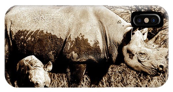 Black Rhino And Youngster IPhone Case