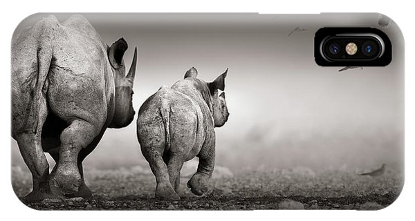 Dove iPhone Case - Black Rhino Cow With Calf  by Johan Swanepoel