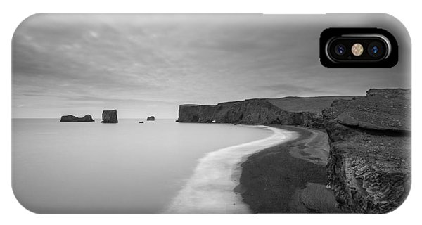 Black Sand iPhone Case - Black Sand Beach Bw by Michael Ver Sprill