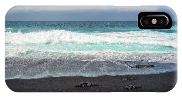 Black Sand iPhone Case - Black Sand Beach by Delphimages Photo Creations