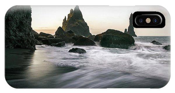 Black Sand Beach In Iceland IPhone Case
