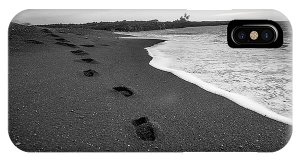 Black Sand iPhone Case - Black Sand Footprints by Sean Davey