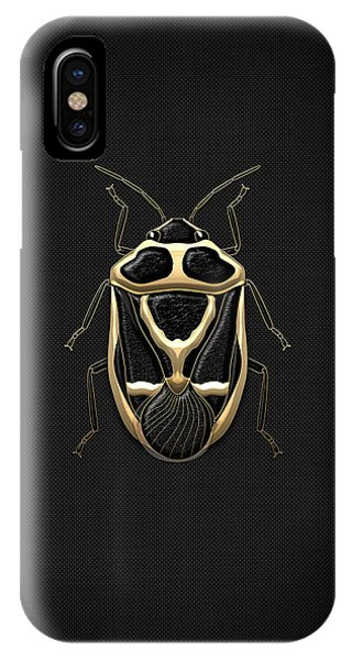 Pop Art iPhone Case - Black Shieldbug With Gold Accents  by Serge Averbukh