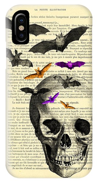 Bat iPhone Case - Black Skull And Bats On A Dictionary Page by Madame Memento
