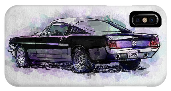Black Stallion 1965 Ford Mustang Fastback IPhone Case