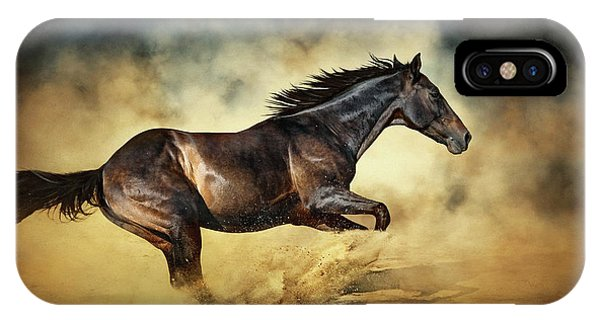 Black Stallion Horse Galloping Like A Devil IPhone Case