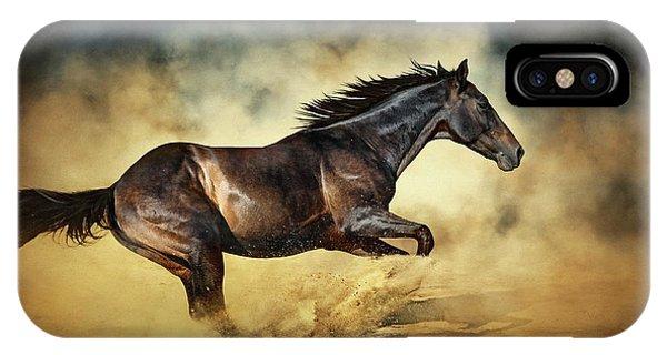 Black Stallion Horse Galloping Like A Devil IPhone Case