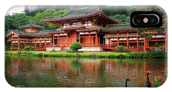 Black Swans At Byodo-in IPhone Case