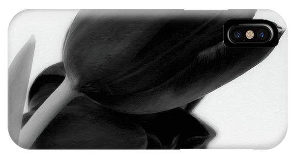 White Tulip iPhone Case - Black Tulips by Wim Lanclus