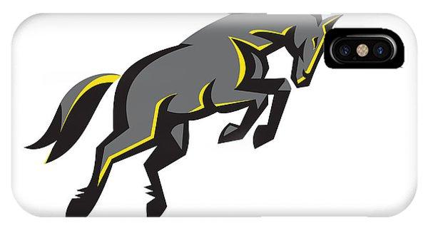 Unicorn iPhone Case - Black Unicorn Horse Charging Isolated Retro by Aloysius Patrimonio