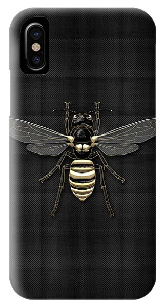 Pop Art iPhone Case - Black Wasp With Gold Accents On Black  by Serge Averbukh