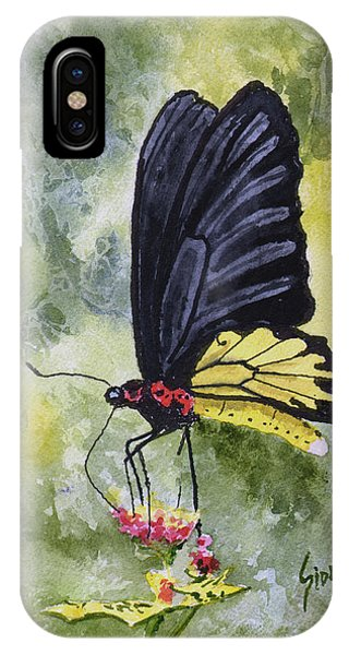 IPhone Case featuring the painting Black Winged Yellow Fellow by Sam Sidders