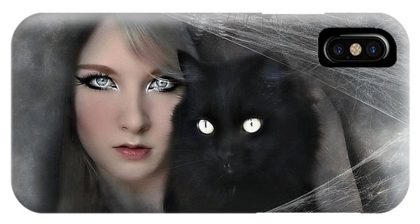 Gothic iPhone Case - Black Witch Cat by G Berry