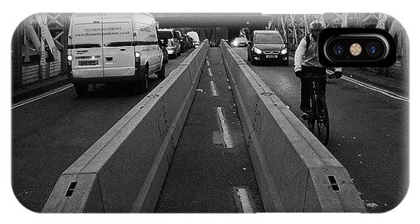 London Bridge iPhone Case - #blackandwhite #traffic #symmetry by Ludwig Amadeus