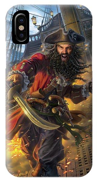 Ship iPhone Case - Blackbeard by Mark Fredrickson