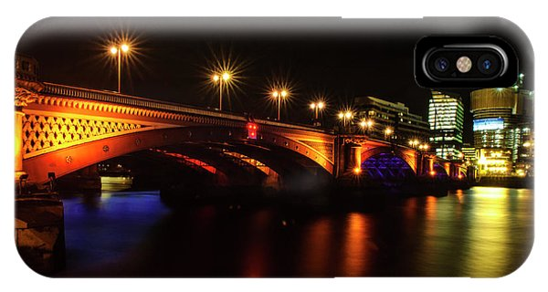 Blackfriars Bridge Illuminated In Orange IPhone Case