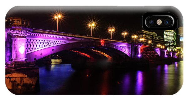 Blackfriars Bridge Illuminated In Purple IPhone Case