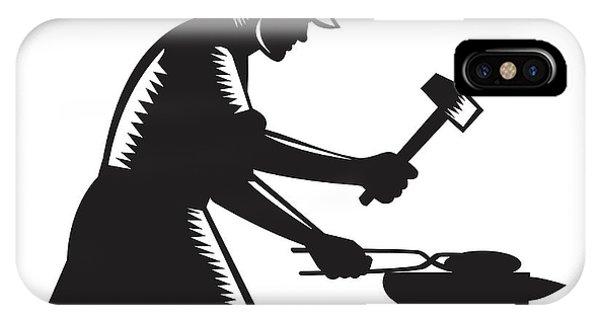 Blacksmith Worker Forging Iron Black And White Woodcut IPhone Case