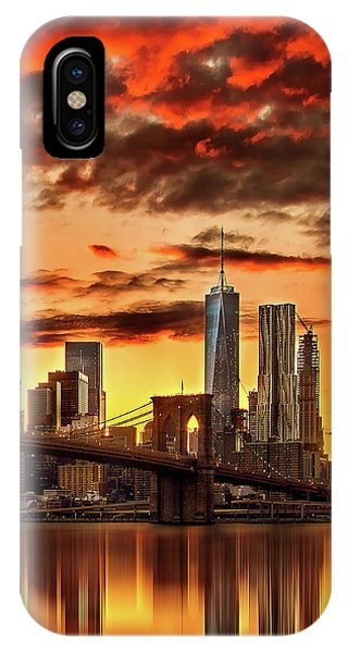 Downtown iPhone Case - Blazing Manhattan Skyline by Az Jackson
