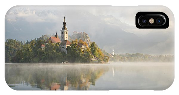 IPhone Case featuring the photograph Bled Lake On A Beautiful Foggy Morning by IPics Photography
