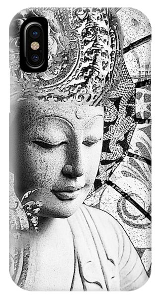 IPhone Case featuring the digital art Bliss Of Being - Black And White Buddha Art by Christopher Beikmann