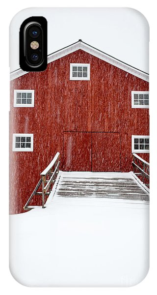 New England Barn iPhone Case - Blizzard At The Old Cow Barn by Edward Fielding