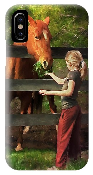 Blond With Horse IPhone Case