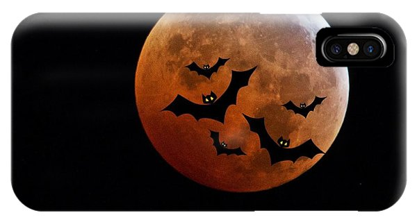 Super Moon iPhone Case - Blood Full Moon And Bats by Marianna Mills