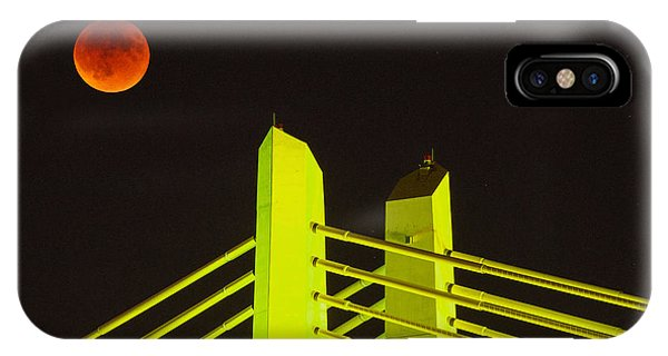 Super Moon iPhone Case - Blood Moon Over The Tillikum Crossing by Patrick Campbell