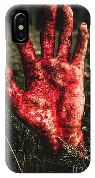 Yard iPhone Case - Blood Stained Hand Coming Out Of The Ground At Night by Jorgo Photography - Wall Art Gallery