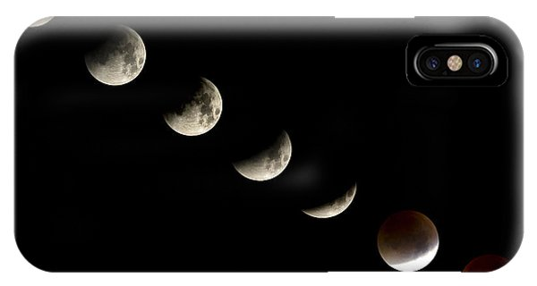 Bloodmoon Lunar Eclipse With  Phases Composite IPhone Case