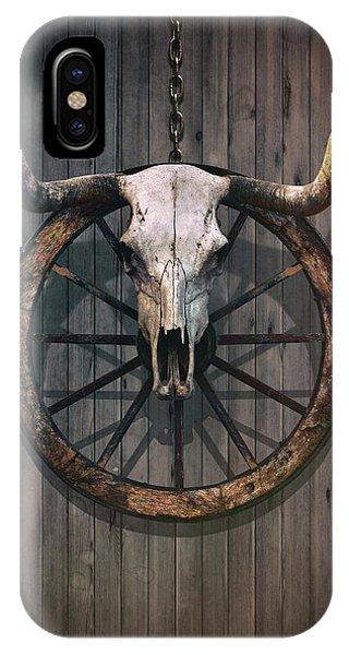 Wagon Wheel iPhone Case - Bloody Bull Skull by Carlos Caetano