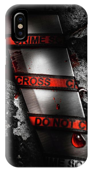 Bloody Knife Wrapped In Red Crime Scene Ribbon IPhone Case