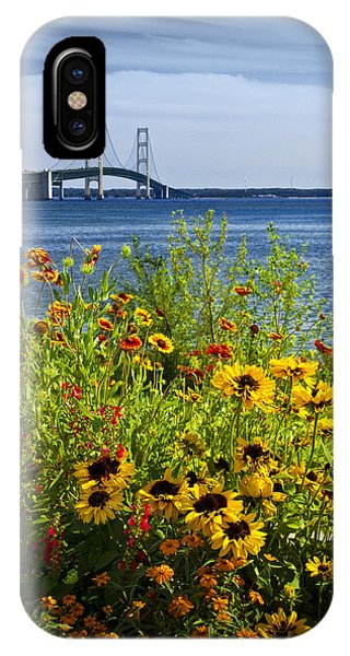 Blooming Flowers By The Bridge At The Straits Of Mackinac IPhone Case