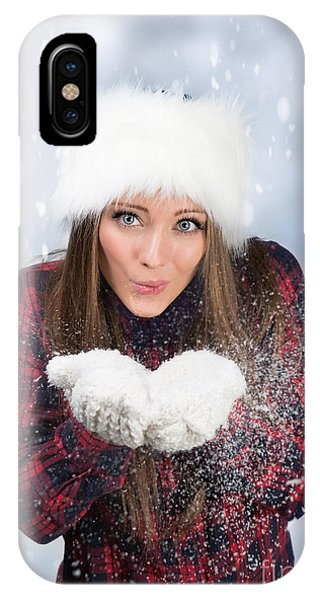 Knit Hat iPhone Case - Blowing Snow In Winter by Amanda Elwell