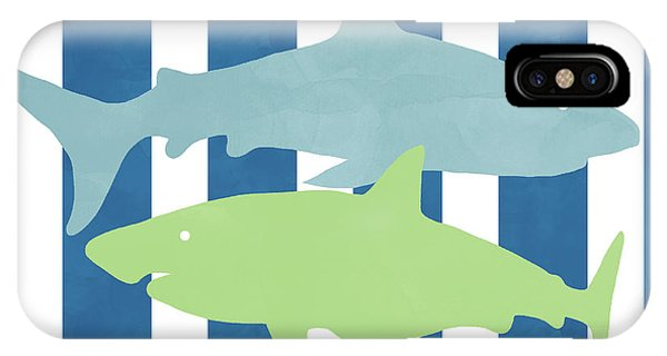 Hammerhead Shark iPhone Case -  Blue And Green Sharks- Art By Linda Woods by Linda Woods
